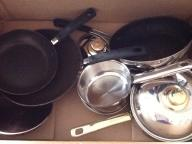 Assorted pots and pans: $10 for lot