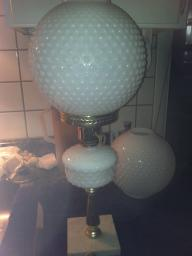 2 Milk White, Hobnail table lamps