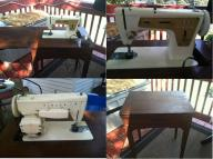 Vintage, 1960's Singer Model 237 Sewing machine in cabinet