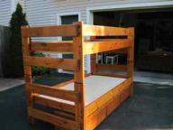 Solid knotty pine bunk bed with drawers underneath