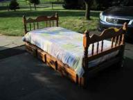Solid alderwood twin bed with four drawers underneath w/mattress