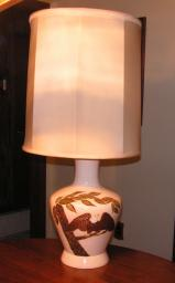 Hand painted , feather lifted Eagle Ceramic Lamp