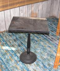 Metal Pedestal Wood Top Side Table