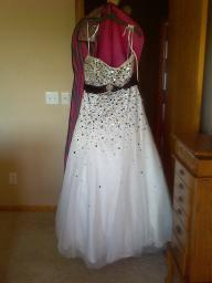 2013 Liz Fields Black/White Strapless Prom Dress