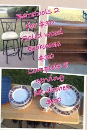Barstools!! Book case!!! Dishes!!!