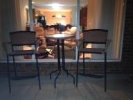 Nice wicker bar stools and table patio set
