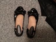 Black patten flat shoes