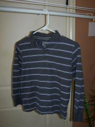 Long sleeve collared shirt with blue stripe size 7-8 medium