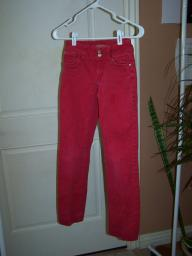 Girls red jeans, Hipsters, size: Super low 12 slim