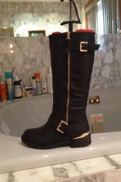 Women's Fashion Boots Black with Gold Zipper & Buckle