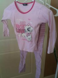 Pink girls shrit and pant set size 7-8