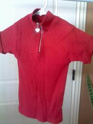 Red Girls blouse size 7-8 wears small