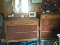 Vintage wooden dresser set. One with ornate mirror.