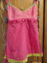 Lyrical Dance Costume Pink and Lime Green size 6-8