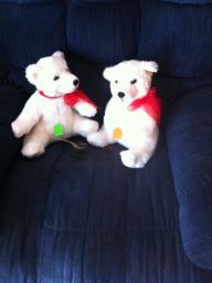 2 White CHRISTMAS plush bears
