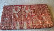 Queen Comforter_Red and sage/celery green paisley. High End