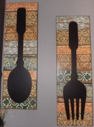 Fork and Spoon Chalkboard wall hangings