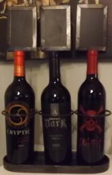 Wine display for 3 bottles wi/chalkboards to label for guests