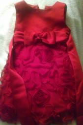 DORISSA SILK FANCY RED DRESS (12MOS)
