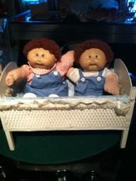 Cabbage Patch Twins with crib
