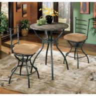 Antigo slate pub table set w/2 extra swivel chairs