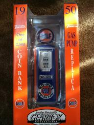 Gulf Gas Pump Replica Coin Bank 1950