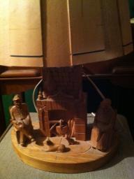 Vinatge Quebec Folk Art Carved Wood Lamp