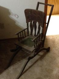 Victorian Antique Baby Stroller & High Chair From the 1800's