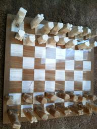 Onyx Chess Set Brown and White