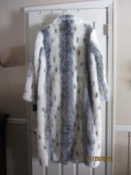 Faux Fur Full length coat-Silver