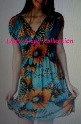 silky tropical cross over floral print dress- blue(BRAND NEW)