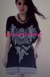 Women Persian Paisley Mini Tunic Dress Black(BRAND NEW)