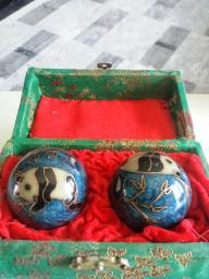 Chinese Panda Baoding Balls, Blue