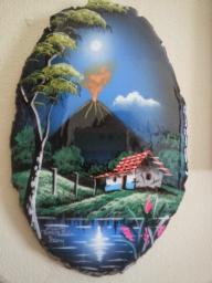 Hand painted and glazed Costa Rican landscape