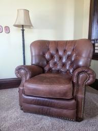 Leather Recliner with Nail Heads