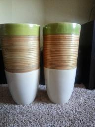 A matching pair of Pier 1 Tall Garden Pottery
