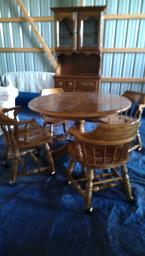 Table, 4 captain chairs, china cabinet