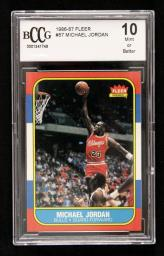 1986-87 Michael Jordan FLEER ROOKIE CARD BCCG Graded 10