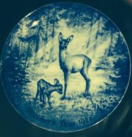 Royale Blue Winter China Decorative Deer Mother's Day 1971 Plate