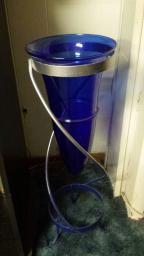 Cobalt vase with stand