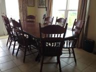 Solid (red maple) wood table & 4 armchair & 4 all matching chairs