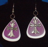 Purple and White Guitar Pick Earrings
