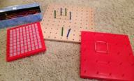 Math Set-2 peg boards & 1 addition game (press to reveal answer)
