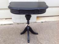 Black solid wood half moon table