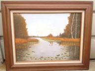 Framed oil on canvas - Lake Scene