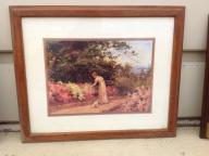 Framed Victorian print -Girl in Garden