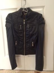 J2 faux leather ruched jacket