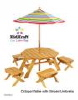 Octagon Table with striped umbrella & 4 Stool Set