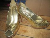 Gold Fioni Peep-Toe Heels