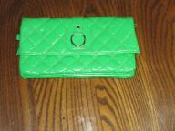 Green Puffy Clutch Wallet